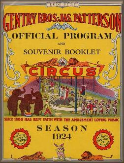 Patterson Circus 1924 Program Book Cover
